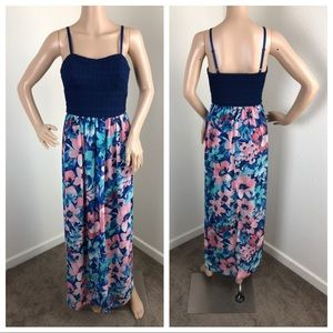 Lily Rose dark blue floral maxi dress
